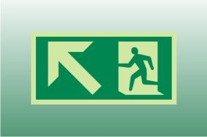 Photoluminescent Exit Sign Up Left - Fire Safety Signs
