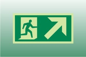 Photoluminescent Exit Sign Up Right - Fire Safety Signs