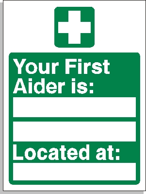 photograph relating to Printable First Aid Sign identify Very first aider Desired destination indicator - To start with Help Signs or symptoms [FA008