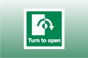 Fire Exit Signs - Turn Right to Open