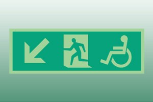 Photoluminescent Disabled Exit Sign - Down Left