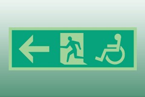 Photoluminescent Disabled Exit Sign - left