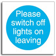 Please switch off lights sign