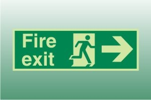Photoluminescent Fire Exit Sign Right