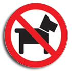 No Dogs disc sign