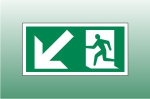 Exit Sign Down Left - Fire Exit Down Left Signs