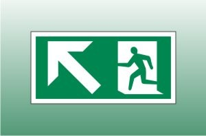Exit Sign Up Left - Fire Exit Up Left Signs
