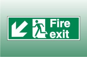 Fire exit sign down left - Fire Down Left Signs
