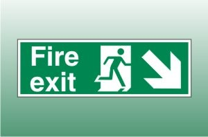 Fire exit sign down right - Fire Down Right Signs