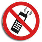 No mobile phones disc sign