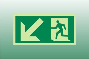 Photoluminescent Exit Sign Down Left - Fire Safety Signs